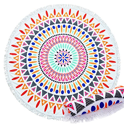 owel 1.4pound/60inch With Tassel Extra Thick,Soft,Water Absorbent Mandala Roundie Beach Throw,Circle Yoga Mat (Coloueful Triangle) ()
