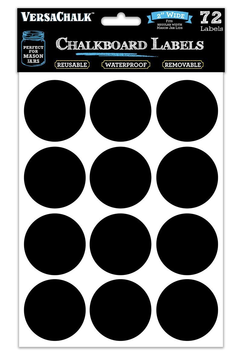 72 Round Chalkboard Mason Jar Lid Canning Labels for Food Storage, Pantry, Spice Jars & Freezer! Waterproof Black Vinyl Chalkboard Stickers are Ideal for Chalk Markers (2.0 Inches Wide) by VersaChalk VC104-RG2