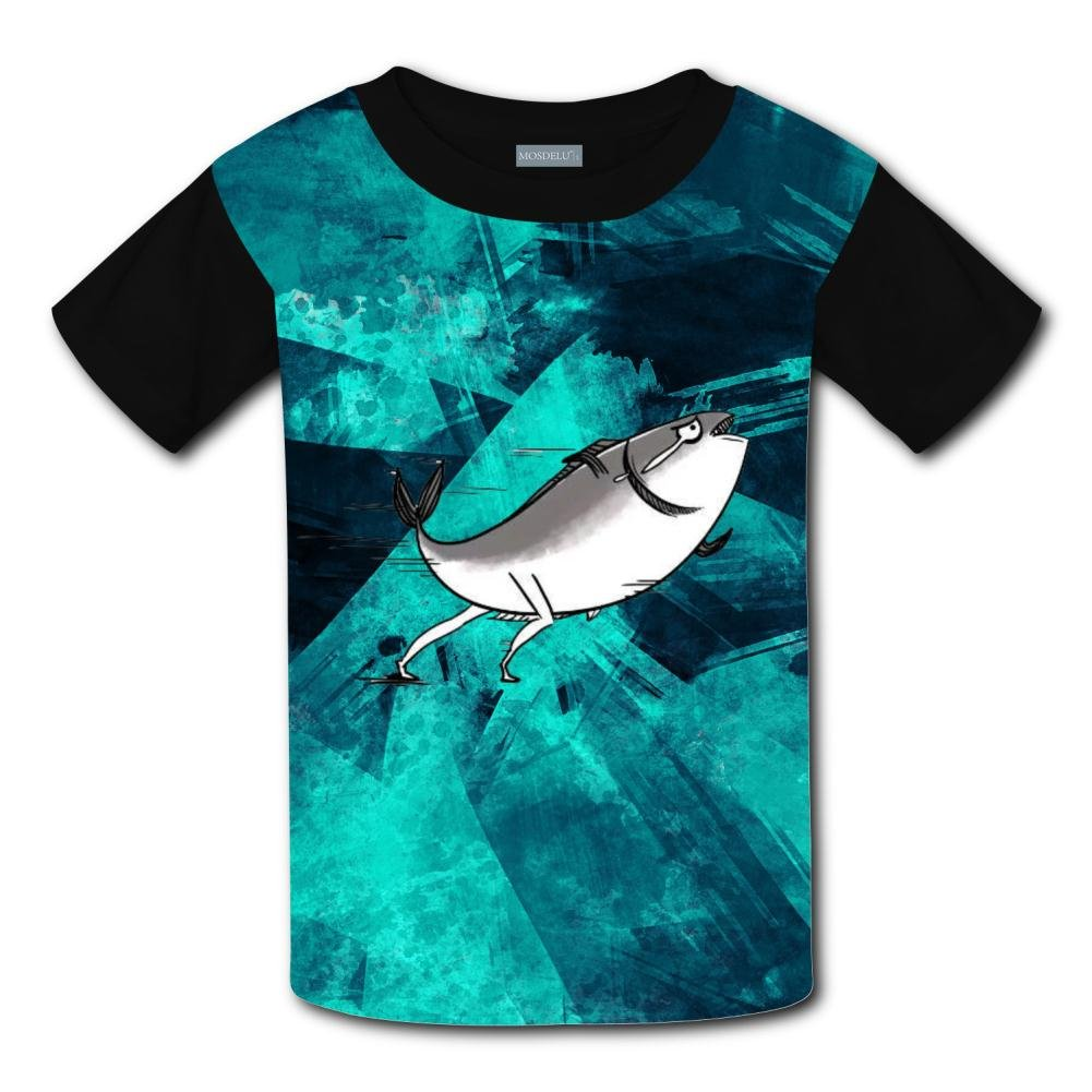 Aslgisy Running Salted Fish Casual T-Shirt Short Sleeve for Kids