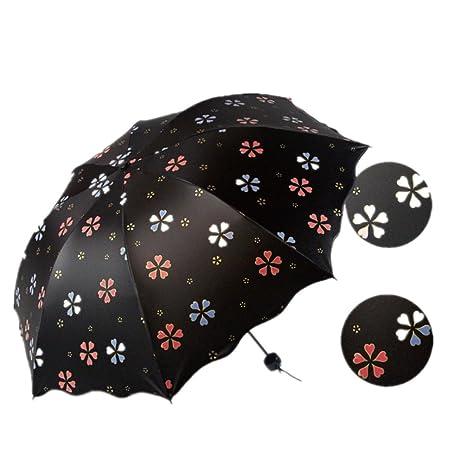 Katomi - Paraguas, estampado que aparece cuando se moja, protector solar, negro (