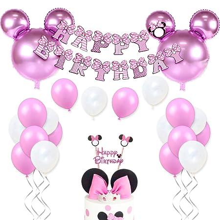 Decoraciones de cumpleaños de Minnie Mouse para niñas Suministros para la fiesta Minnie rosa con globos tipo Minnie Mouse, guirnalda de cumpleaños ...