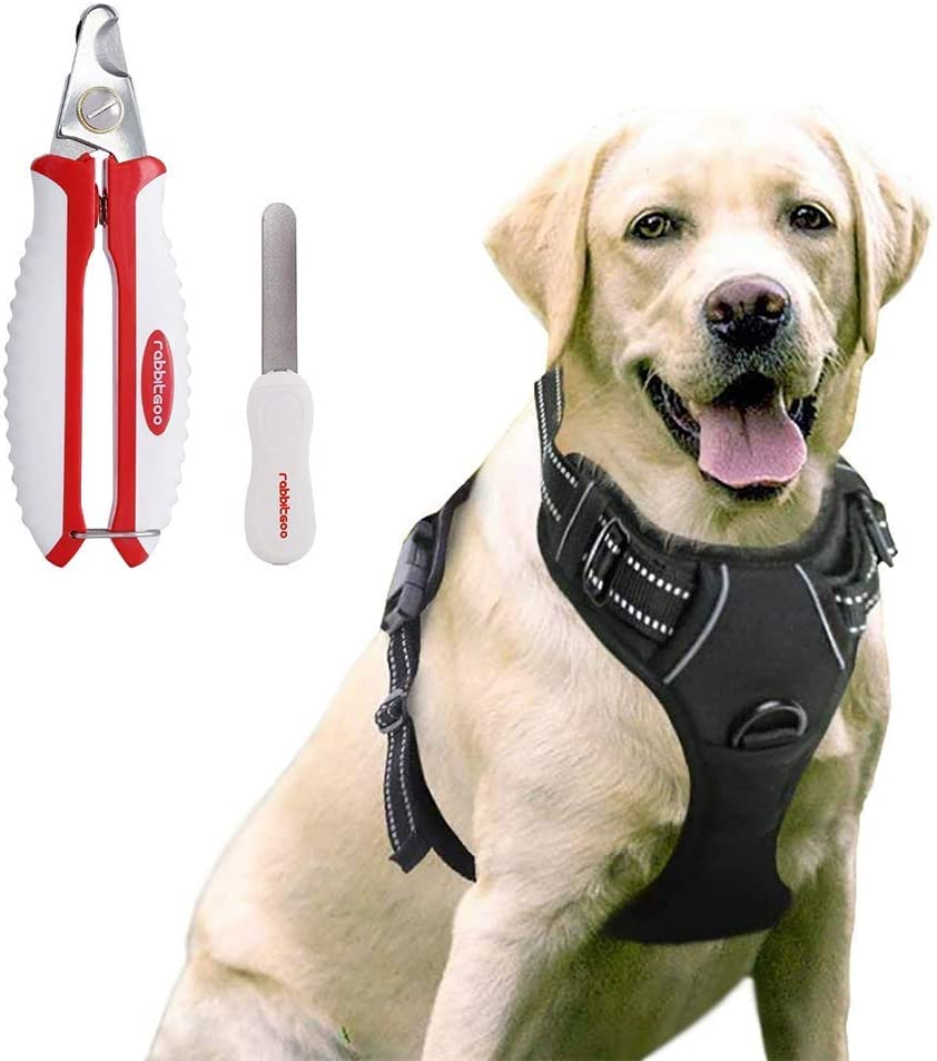 rabbitgoo Dog Harness & Dog Nail Clippers with File Set - Adjustable No Pull Dog Vest with Leash Clips(L) | Safety Pet Nail Trimmer Cat Claw Grooming Tool Painless Paw Scissors(White Red)
