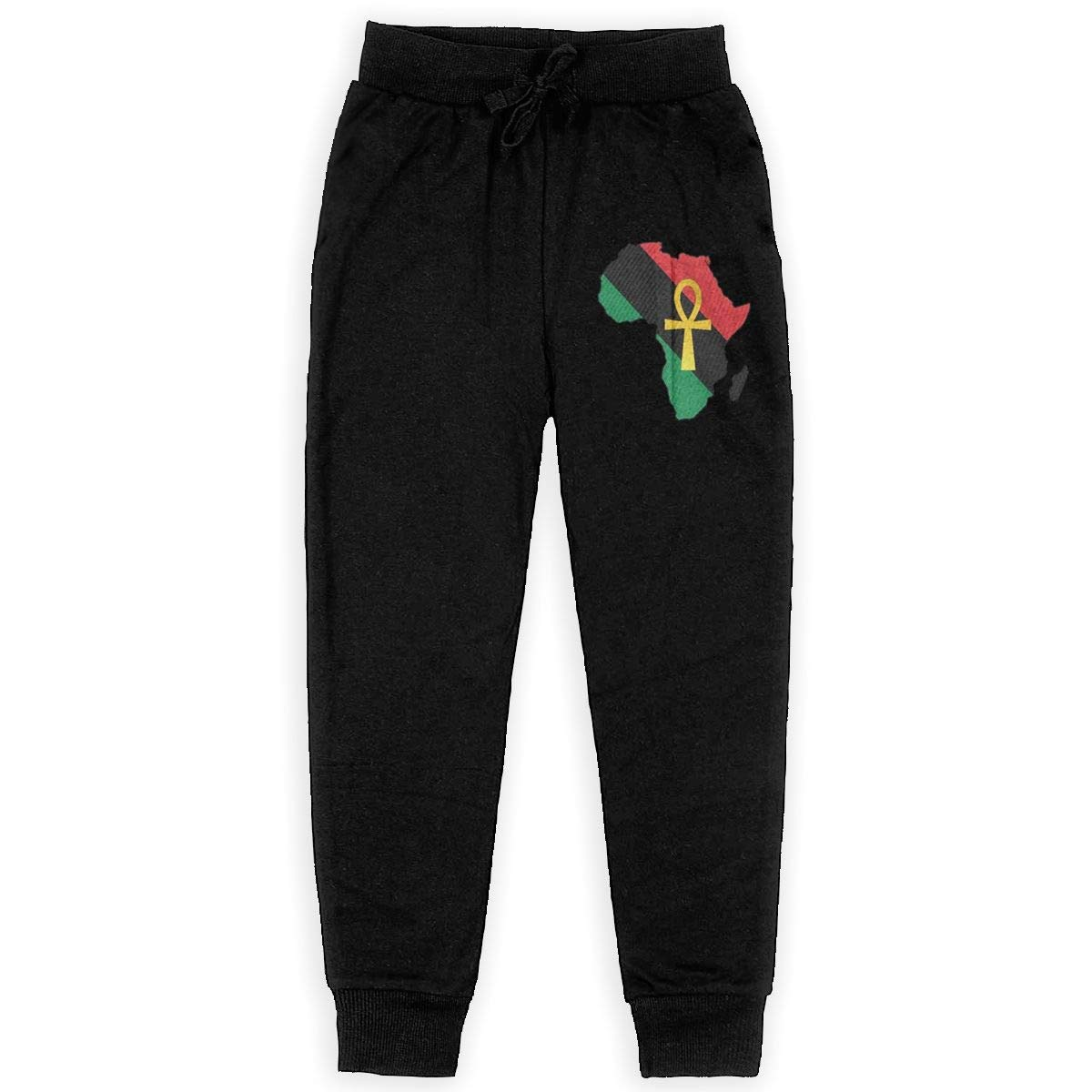 Kim Mittelstaedt Colored Africa Boys Big Active Basic Casual Pants Sweatpants for Boys Black
