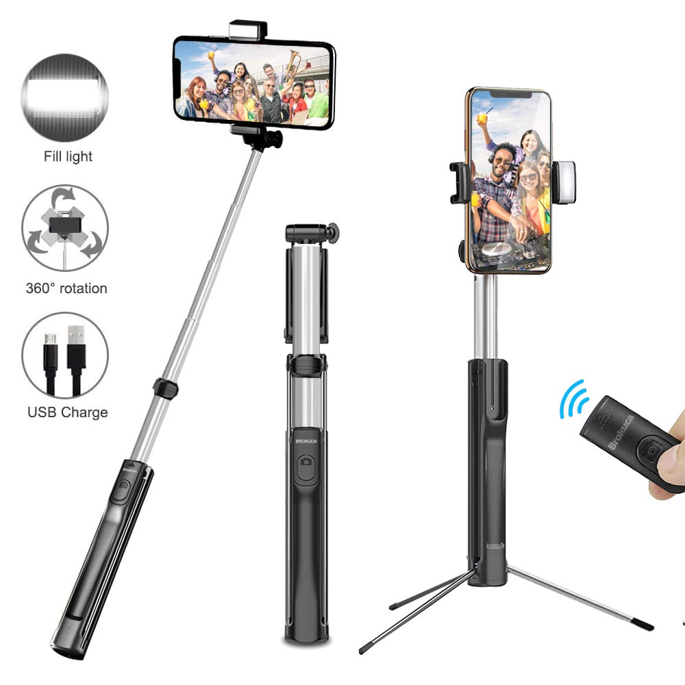 Selfie Stick Tripod, 63 Inch Extendable Selfie Stick Monopod with Bluetooth Remote & Selfie Light, Compatible with iPhone XS/XR/X/8/8 plus/7/7 plus/6s,Galaxy S10/S9/8, More