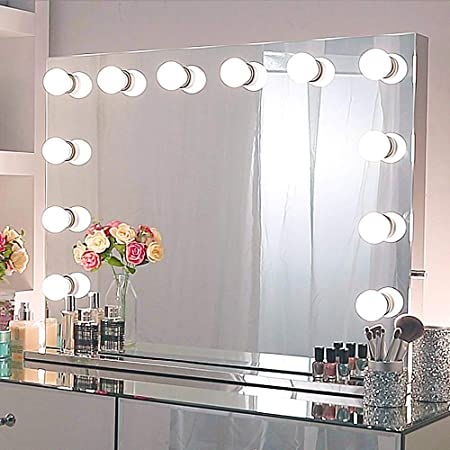 Hollywood Mirror With Lights For Wall Mounted Or Tabletop Professional Illuminated Dressing Table Mirror With With 12 Dimmable Led Bulbs Large Frameless Light Up Makeup Vanity Mirror For Bedroom Amazon Co Uk Kitchen