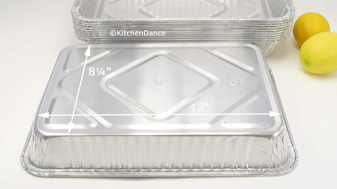 KitchenDance Disposable Aluminum 13 x 9 x 2 Cake pans with Lids- Pack of 12 pans & 12 Lids by KitchenDance (Image #7)