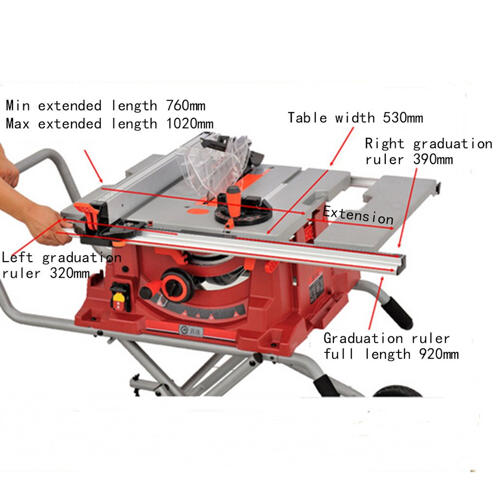 Wotefusi Industrial New 110V 1800W 10 inch Blade Woodwork Bench Top Saw Sawing Cutting Cutter Tool Machine Portable Table Folding Stand by Wotefusi (Image #3)