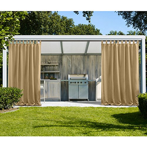 Panel 84l (cololeaf Outdoor Curtain Panel Water Repellent for Porch Patio,Privacy Drape Top Tab Window Curtain with UV Ray Protected and Mildew Resistant ,Easy To Hang on Wheat 100W x 84L Inch (1 Panel))