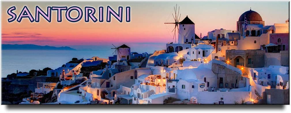 Santorini panoramic fridge magnet Thera Greece travel souvenir