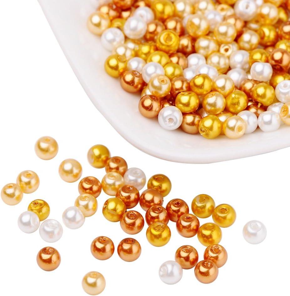 Pandahall 400 Pcs Perlas de Cristal Nacarado, Cuentas de Pulsera Collar Pendientes, Pastal Estilo, Color Mezclado, Diámetro: 4 mm, Agujero: 1mm