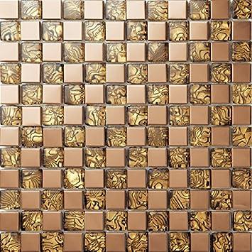 Goldener Farbe Glas Mischen Edelstahl Mosaikfliesen, Muster Metall Fliesen  Gitter, Bad Und Küche Backsplash
