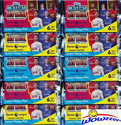 2017/18 Topps Match Attax English Premier League Soccer Collection of TEN(10) Factory Sealed Foil Packs with 60 Cards! Look for Cards of all the Top Stars of the Premier League! Imported from England!