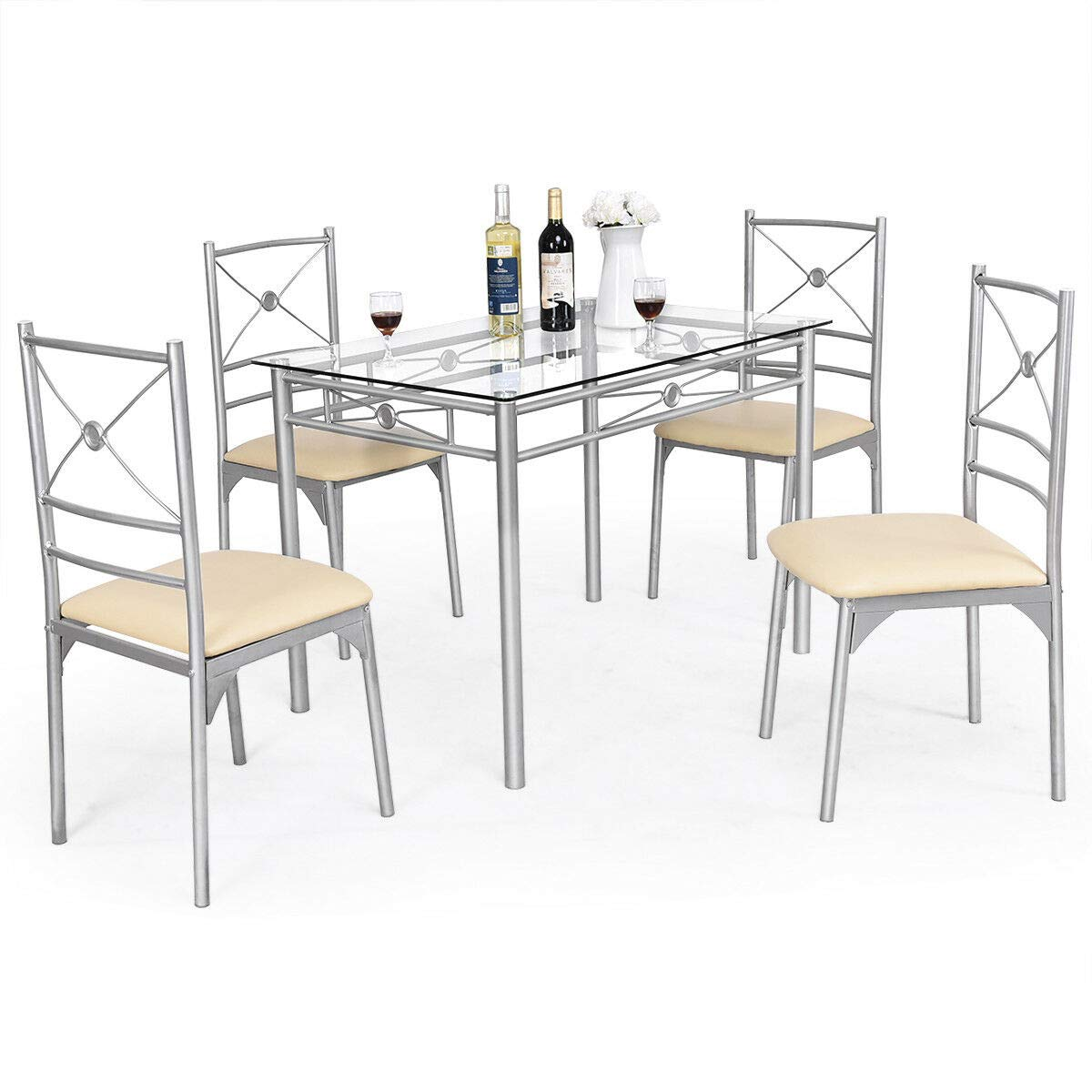 Tangkula Dining Table Set 5 Piece Home Kitchen Dining Room Tempered Glass Top Table and Chairs Breaksfast Furniture (Silver 001) by Tangkula