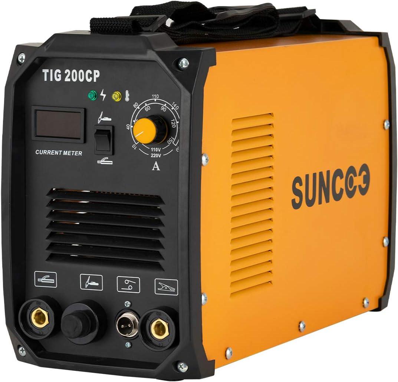 Suncoo Tig Welder 200 Amp Tig Mma Stick Arc Welding Machine Inverter Dc Tig 200cp Hf 110 220v Dual Voltage With Led Digital Display Brush Orange Amazon Com
