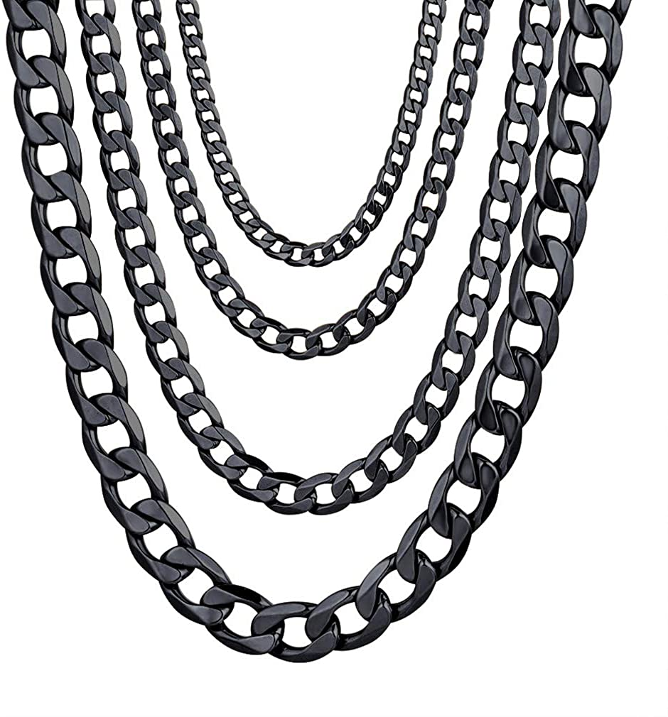 """Stainless Steel Cuban Chain Necklaces/Bracelets for Men Women, Black/18K Gold Plated, 4mm-13mm, 7.5""""/8.3"""",14""""-30"""", Come Gift Box"""