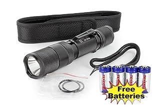 Combo: PowerTac E5 LED Flashlight with CREE XM-L LED 950Lumens New Version + 4 Tenergy CR123A Batteries