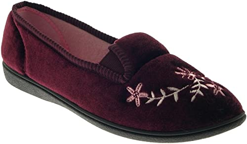 WOMENS LUXURY COMFORT SLIPPERS WIDE FIT