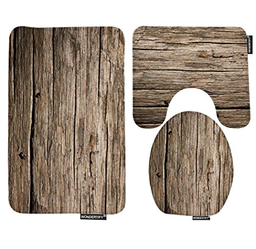 Wondertify Bath Mat,Wood,Rustic Old Barn Wood Bathroom Carpet