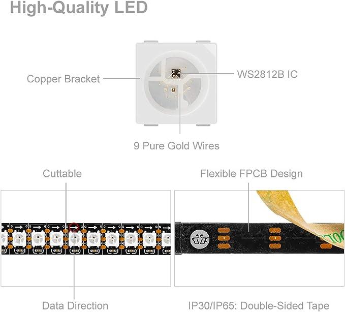 Btf Lighting 1m 144 Leds Pixels M Ws2812b Schwarz Pcb Rgb Adressierbare Strip Streifen Mit 5050 Smd Leds Nichtwasserdicht Ip30 Beleuchtung
