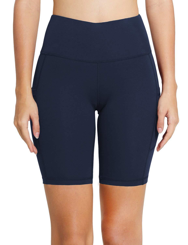 MYIFU Women's Solid Stretch High Waist Board Shorts Training Bike Sport Swim Short (X-Large, Dark Blue-2) by MYIFU (Image #2)