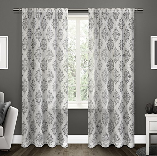 Exclusive Home Curtains Nagano Sheer Rod Pocket Window Curtain Panel Pair, Black Pearl, 54x96 (Belgian Linen Curtains)