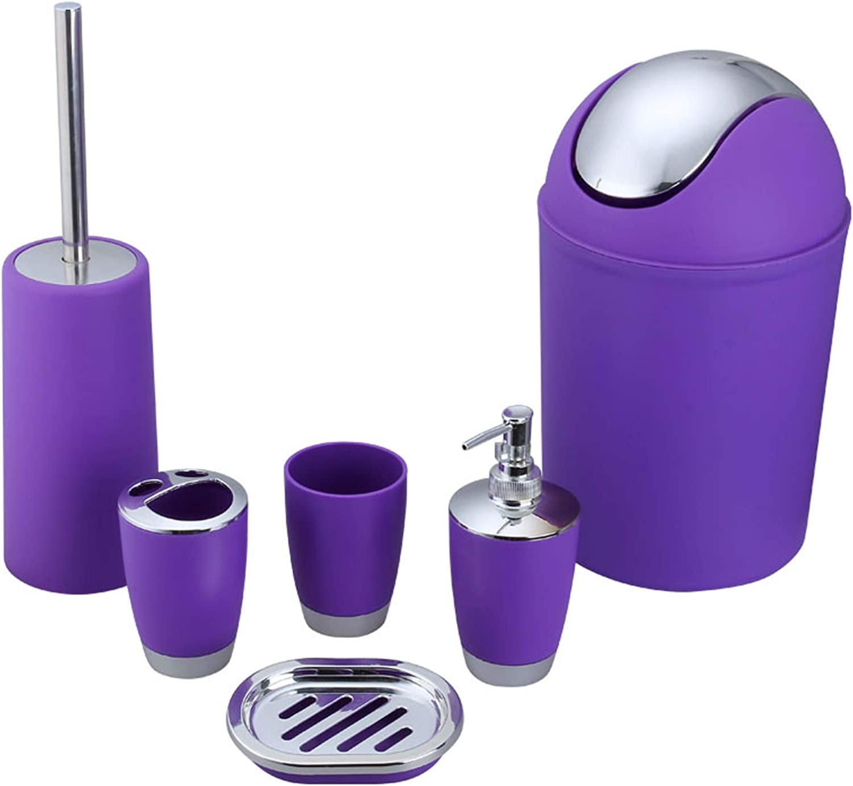 besaset Bathroom Accessories Set 6 Pieces Plastic Bathroom Accessories Toothbrush Holder, Rinse Cup, Soap Dish, Hand Sanitizer Bottle, Waste Bin, Toilet Brush with Holder (Purple)