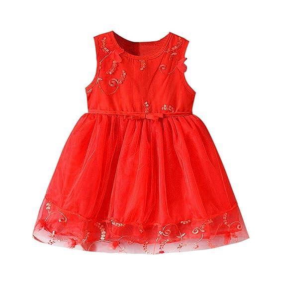DRESS_start Vestido Para Bebé NiñAs Vestido Bordado Rojo NiñA Bowknot Encaje Sin Mangas De Cuello Redondo
