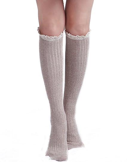 4b3918985 HDE Women s Knee High Socks with Crochet Lace Trim Cotton Knit Boot  Stockings (Beige)