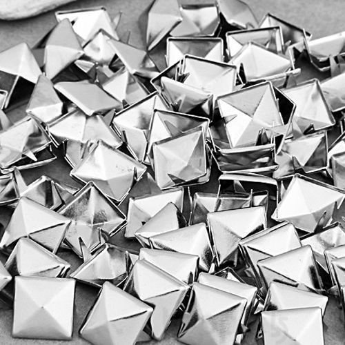 Silver Pyramid Spike (Mini-Factory 300 PCS Nailhead DIY Metal Silver Punk Spikes Spots Pyramid Studs For Leathercraft(Size:10MM, Color:Silver, QTY:300)