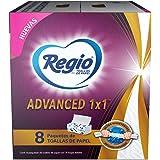 Regio Toallas De Papel Interdobladas Regio Advanced 1x1, 8 Paquetes Con 70 Hojas Dobles C/u, color, 70 count, pack of/paquete