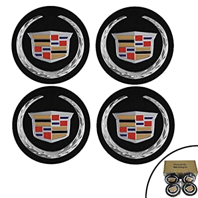 "Shenwinfy for 2 5/8"" Cadillac Center Caps, Wheel Center Hub Caps for for ATS CTS DTS SRX XTS XLR Wheels 9597375 4PCS (Black): Automotive"