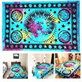 Your Spirit Space (TM) Blue Sun Moon Tapestry - Hippie Hippy Wall Hanging Indian Mandala Tapestry - The Finest Quality Bohemian Tie Dye Wall Decor