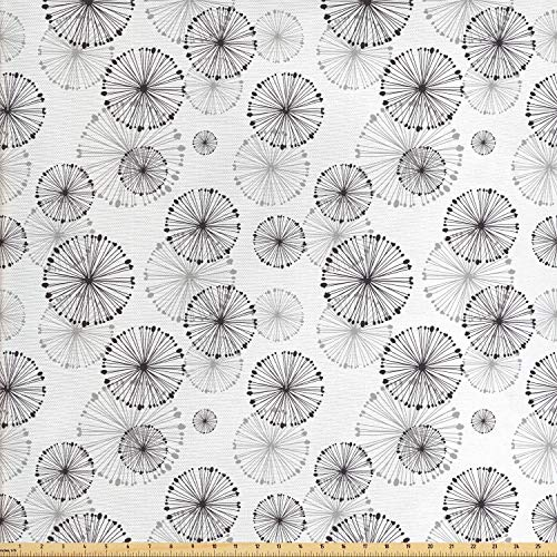 Ambesonne Abstract Fabric by The Yard, Dandelion Concept Blowball Flower Silhouette Nature Inspirations Vintage Design, Decorative Fabric for Upholstery and Home Accents, 1 Yard, Dried Rose