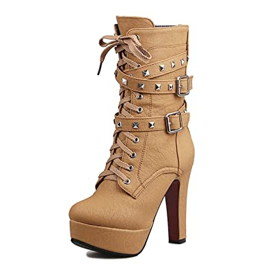 3e8fd96a0ce Odetina Apricot Women s Sexy Lace-Up Zipper Buckle Strap Chunky High Heel  Platform Mid Calf