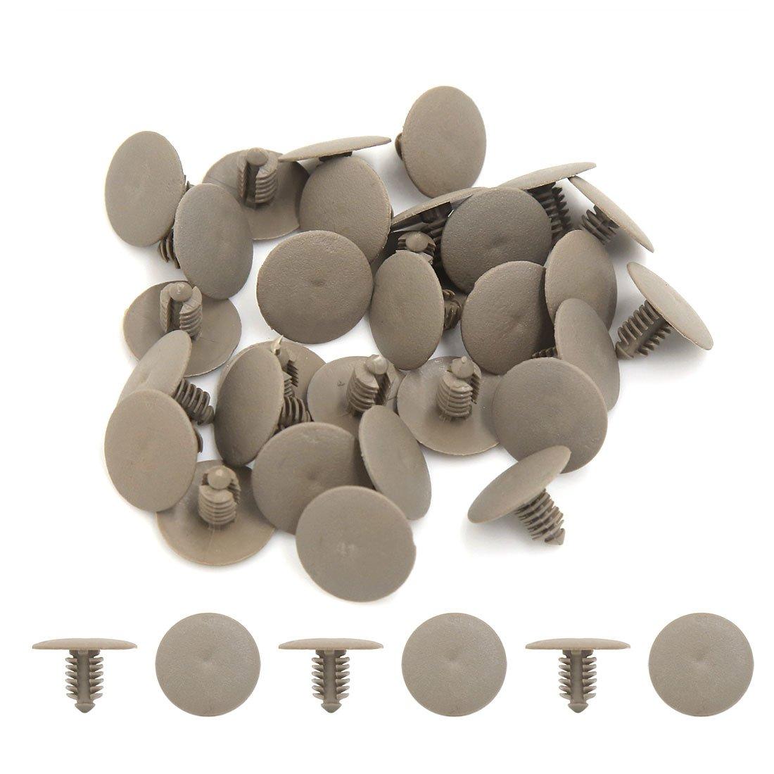 Sourcingmap/® 30 pcs 7mm Plastique Voiture Automobile Fixation Aile Push Rivets Colliers Gris