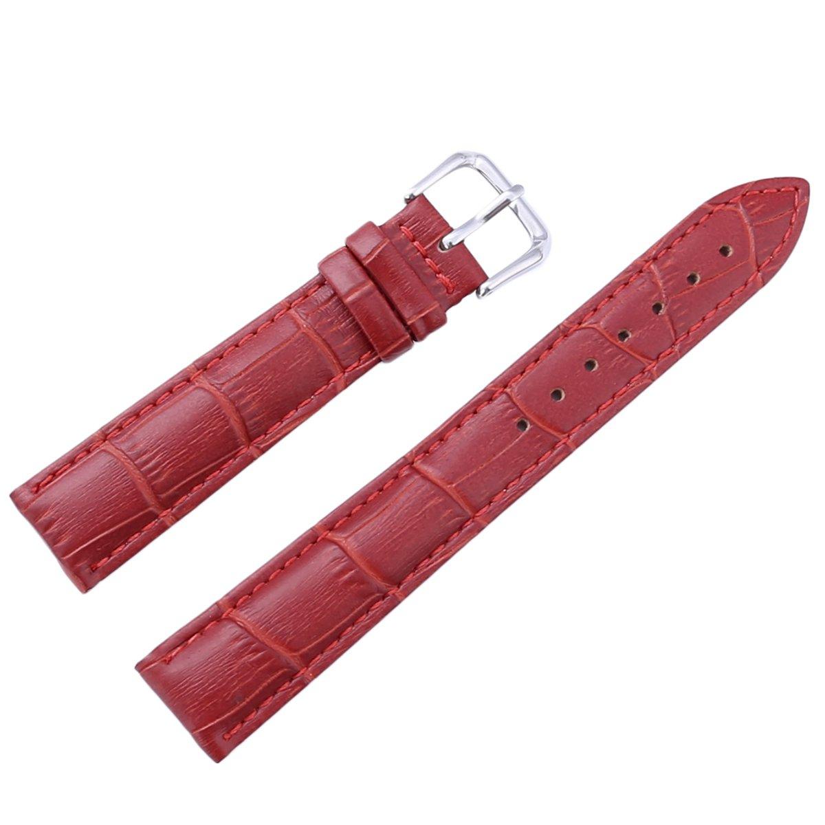 chezabbeyレザー腕時計バンド交換バックル留め腕時計ストラップ12 / 14 / 16 / 18 / 20 / 22 / 24 mm 22 MM レッド 22 MM レッド レッド 22 MM B0749BV79R