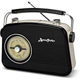 Byron Statics Portable Radio AM FM, Vintage Retro Radio with Built in Speakers, Best Reception and Longest Lasting, Power Plu