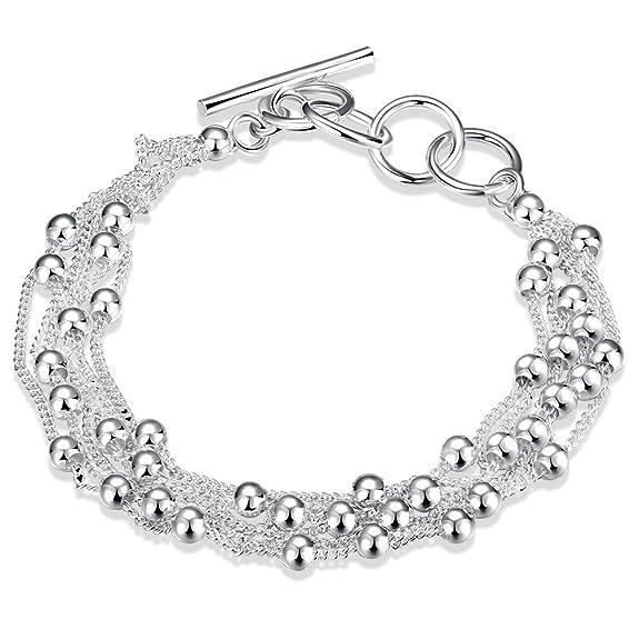 66 opinioni per LDUDU® Braccialetto femminile 925 Argento con palle braccialetto per donne