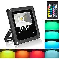 Blinngo Projecteur LED Extérieur RGB ou Intérieur Eclairage Multicolore 10W,Etanche IP66, 16 Couleurs 4 Modes Dimmable avec Télécommande pour Noël Fête Soirée,Anniversaire,Jardin,maison