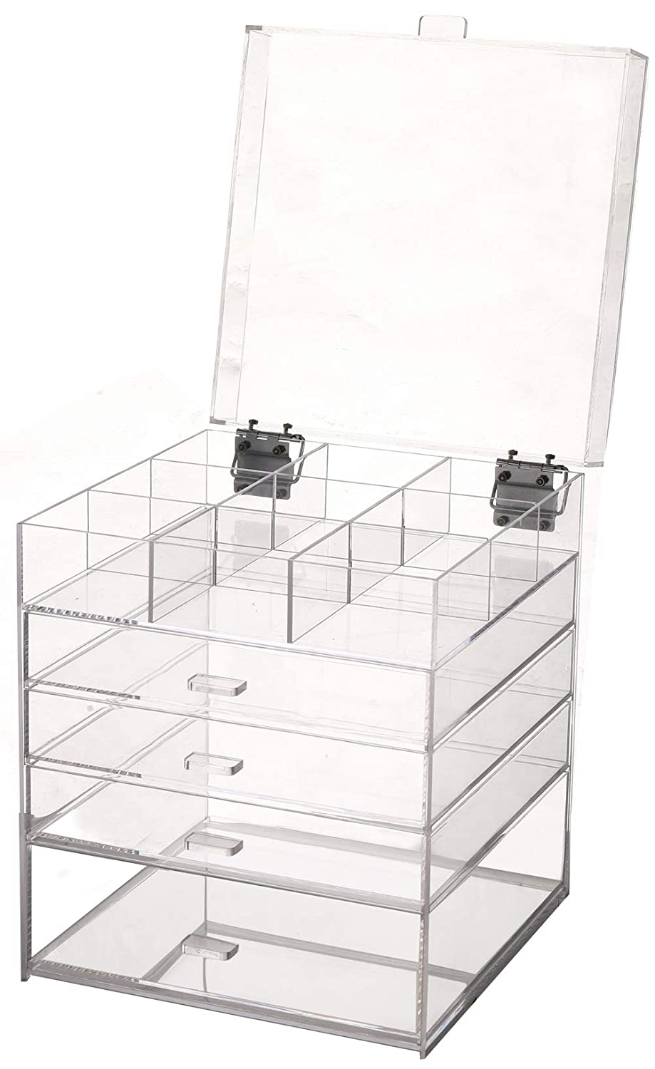 Sooyee Acrylic Large Cube 5 Tier Deep Drawers Cosmetic Organizer with Lid, The Lid can be Upright at 90 Degrees, Handmade Multifunction Makeup Organizer and 9 Grid Divider, Clear- 9.84X9.84X12.3 inch