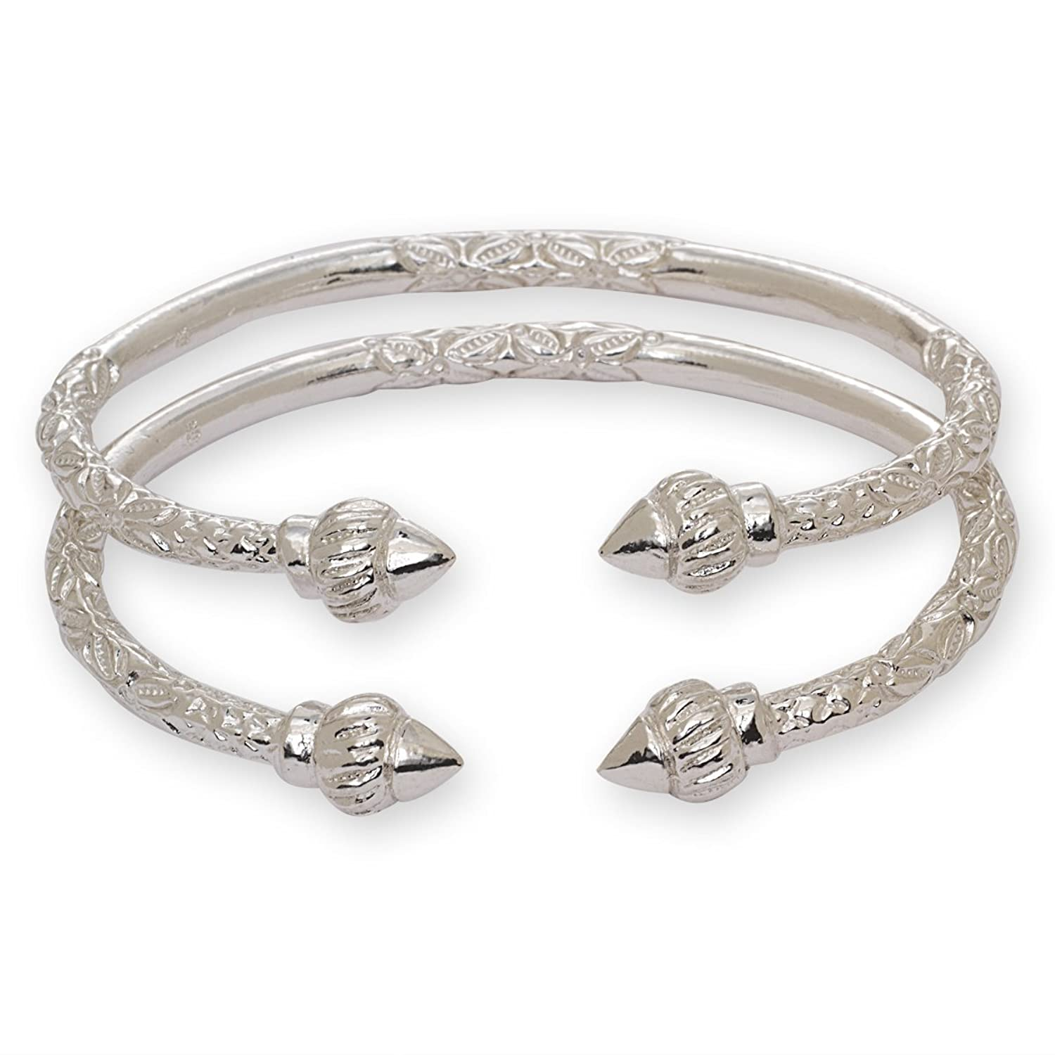 Amazon Ridged Arrow 925 Sterling Silver West Indian Bangles