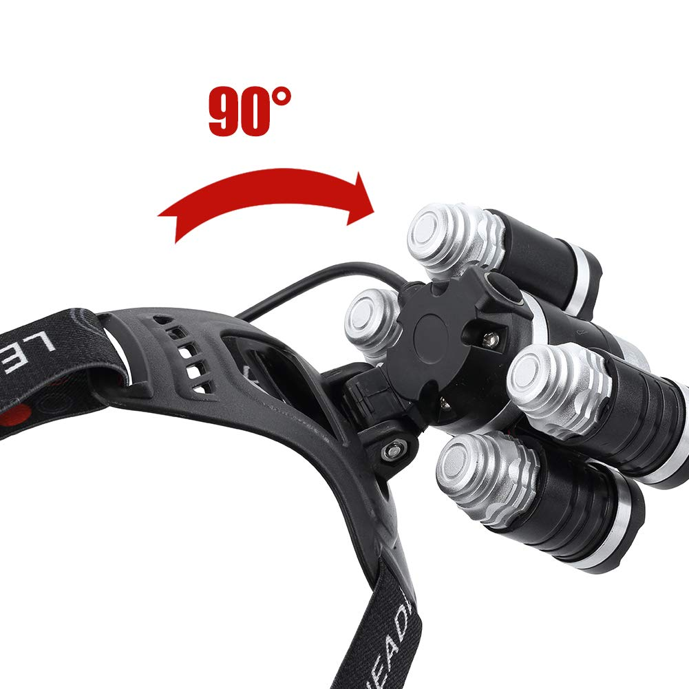 Headlamp 12000 Lumen Ultra Bright CREE LED Work Headlight USB Rechargeable, 4 Modes Waterproof Head Lamp Best Head Lights for Camping Hiking Hunting Outdoors by Alyattes (Image #4)