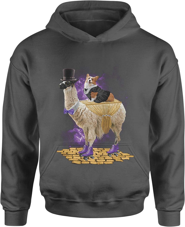 Expression Tees Corgi Riding The Llama Express Youth-Sized Hoodie