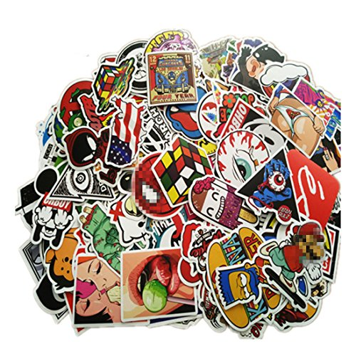 Price comparison product image 100 Pieces Waterproof Vinyl Stickers for Personalize Laptop,  Car,  Helmet,  Skateboard,  Luggage Graffiti Decals (F - section)