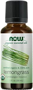 NOW Essential Oils, Organic Lemongrass Oil, Uplifting Aromatherapy Scent, Steam Distilled, 100% Pure, Vegan, Child Resistant Cap, 1-Ounce