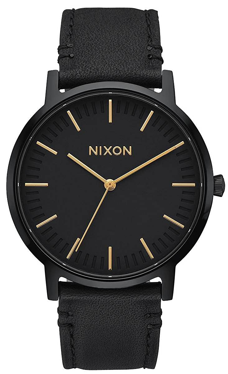 NIXON Porter Leather -Spring 2017- All Black/Gold