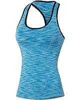 ZKOO Le donne Asciugatura Veloce Gym Sport Yoga Serbatoio Fitness Stretch Canotte Formazione Maniche