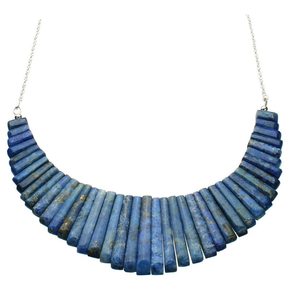 Blue Lapis Stone Fan Dagger Bib Sterling Silver Cable Chain Necklace 18 Inch