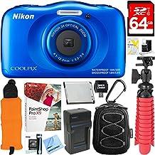 Nikon COOLPIX W100 13.2MP Waterproof Digital Camera (Blue) + 64GB Class 10 UHS-1 SDXC Memory Card + Accessory Bundle