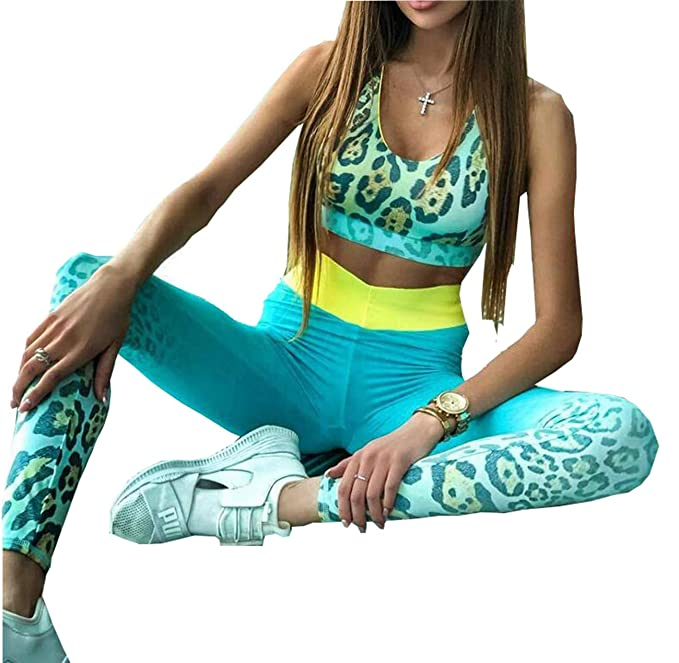 247dba571492 Amazon.com: Leopard Print Women Yoga Sets Sportswear Sexy Fitness Cross  Back Tank Top Leggings Tracksuit Gym Wear: Clothing